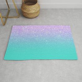 Modern mermaid lavender glitter turquoise ombre pattern Rug