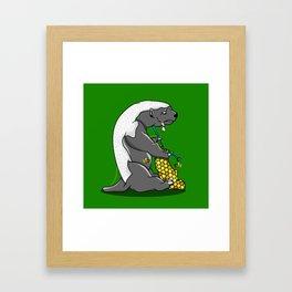 Honey Badger Knitting Framed Art Print