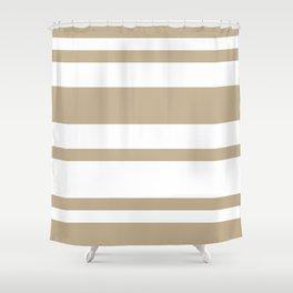 Mixed Horizontal Stripes - White and Khaki Brown Shower Curtain