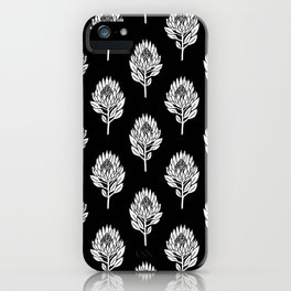 Linocut Protea flower printmaking pattern black and white floral iPhone Case