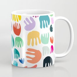 Hands Flowers and Hearts Colorful Abstract Pattern Art Coffee Mug