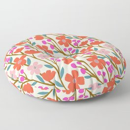 Wildflowers in Pink and Red Floor Pillow
