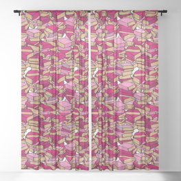 Book Collection in Pink Sheer Curtain