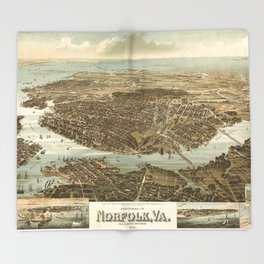 Vintage Pictorial Map of Norfolk Virginia (1892) Throw Blanket