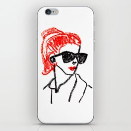 sunglasses and red hair iPhone Skin