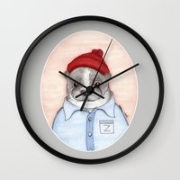 steve zissou Wall Clocks featuring Steve Zissou by Indi Maverick