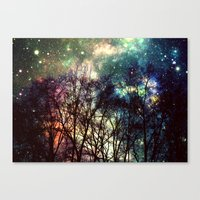 Canvas Prints featuring Black Trees Deeply Colorful Space by 2sweet4words Designs