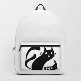 Spooky black cat two tails saying no black and white Backpack
