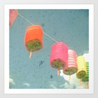lanterns Art Prints featuring Lanterns by Cassia Beck