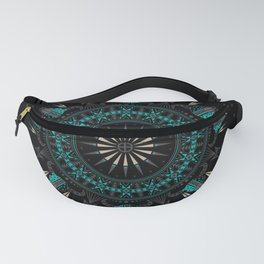 Buffalo Skull and Feathers (Aqua) Fanny Pack