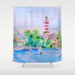Elbow Reef Lighthouse Hope Town, Abaco, Bahamas Watercolor painting Shower Curtain