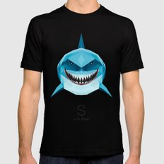 S is for Shark Mens Fitted Tee Black X-LARGE