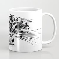 snow leopard Mugs featuring Snow Leopard by pbnevins