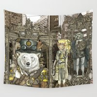 steampunk Wall Tapestries featuring Steampunk City by Felis Simha
