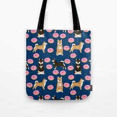 Shiba Inu donuts food cute dog art sweet treat dogs pet portrait pattern Tote Bag