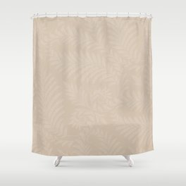 Pantone Hazelnut Fancy Leaves Scroll Damask Pattern Shower Curtain