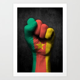 Cameroon Flag on a Raised Clenched Fist Art Print