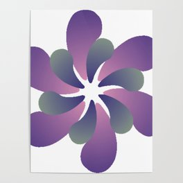 Purple ombre flower spiral Poster