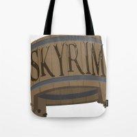 skyrim Tote Bags featuring SKYRIM: BUCKET by MDRMDRMDR