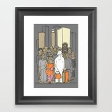 Polar Bear Is Falling In Love With The City Framed Art Print