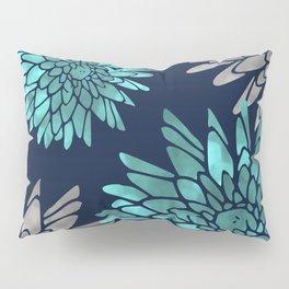 Floral Chrysanthemum Modern Navy Aqua Pillow Sham