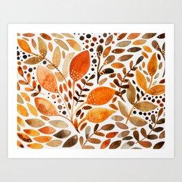 Autumn watercolor leaves Art Print