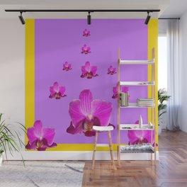 PURPLE ORCHID FLOWERS RAIN YELLOW ART Wall Mural