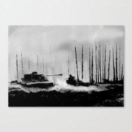 Tiger I battling T-34 tanks (Grey version) Canvas Print