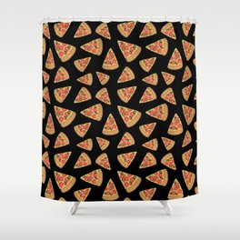 Pizza Party Black Pattern Shower Curtain