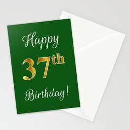 """Elegant """"Happy 37th Birthday!"""" With Faux/Imitation Gold-Inspired Color Pattern Number (on Green) Stationery Cards"""