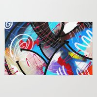 kandinsky Area & Throw Rugs featuring Sealed With A Twist - Abstract Acrylic Modern Painting by Mark Compton by Mark Compton