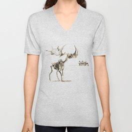 Vintage Elk Skeleton with Friends Unisex V-Neck