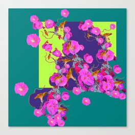 Pink Morning Glories on TEAL Art  LIME Design Canvas Print