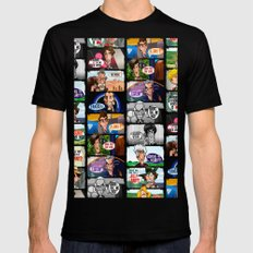 Faces of Who (Black) Mens Fitted Tee Black MEDIUM
