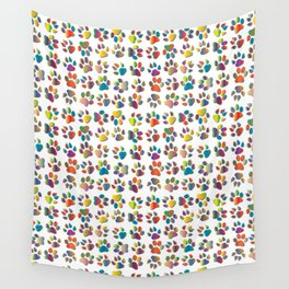 Rainbow of Paw Prints Wall Tapestry