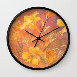 Layered Day Lilies Wall Clock