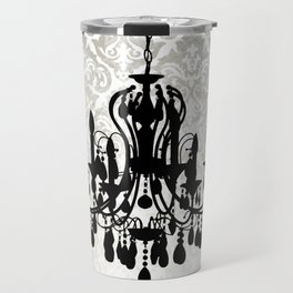Chandelier Silhouette Metallic Damask Backdrop Travel Mug