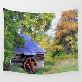 Barn Autumn Landscape Wall Tapestry
