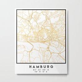 HAMBURG GERMANY CITY STREET MAP ART Metal Print