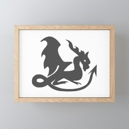 Dragon black, fantasy, mythical creature Framed Mini Art Print