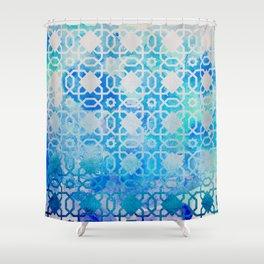Elegant Islamic Geometric Blue Pattern Shower Curtain