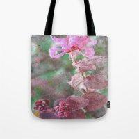 fringe Tote Bags featuring Fringe Flower by Sandy Moulder