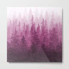 My Misty Secret Forest - magenta Metal Print