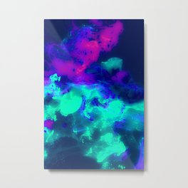 Glowing Grapes - Fruity Ink Fluid Metal Print