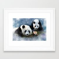 pandas Framed Art Prints featuring Pandas by Julie Hoddinott
