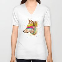 selena gomez V-neck T-shirts featuring Cherokee Wolf II by dogooder