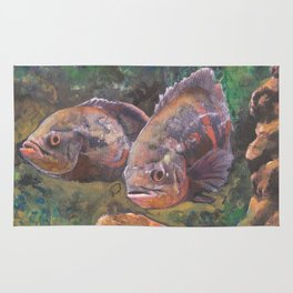 Purple Grouper Aquatic Fish Watercolor Painting  Rug