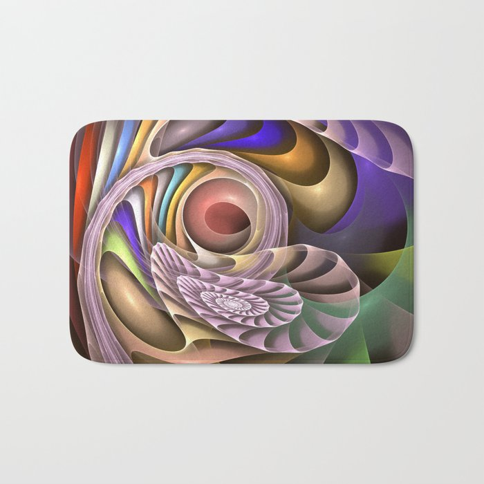 In Motion, colourful fractal abstract Bath Mat