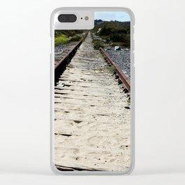 Sandy Train Tracks Clear iPhone Case