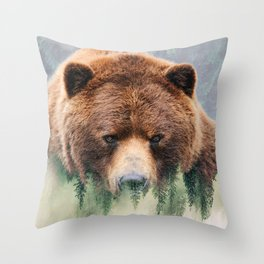 Grizzly Wood Throw Pillow